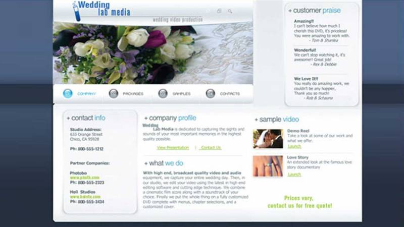 Wedding video production website