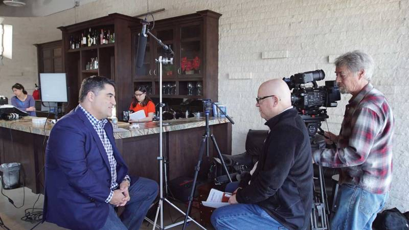 Fred Peabody is seen here interviewing Cenk Uygur of The Young Turks, an independent online news show.