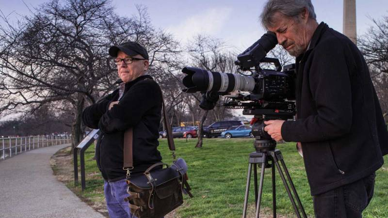 Director Fred Peabody and DP John Westheuser are seen here shooting scenics in Washington, D.C. to help put their interview and actuality footage in context.