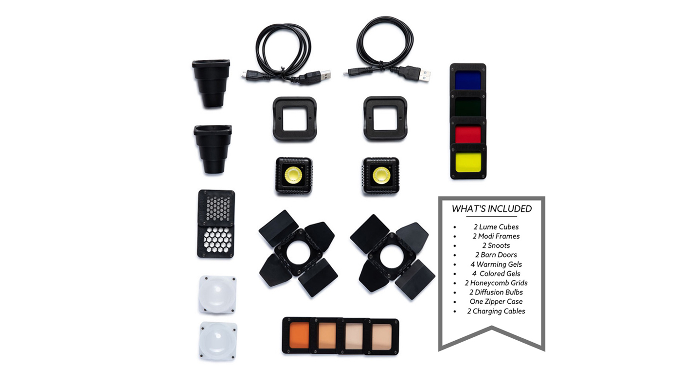 Pieces in Lume Cube's Professional Lighting Kit