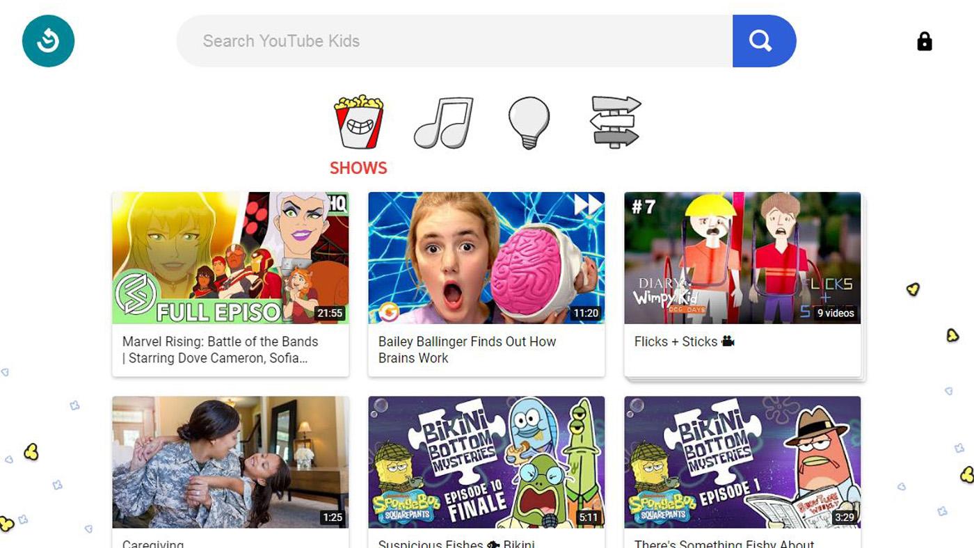 YouTube Kids homepage