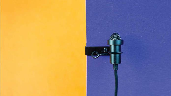 lav mic on a 2 tone background