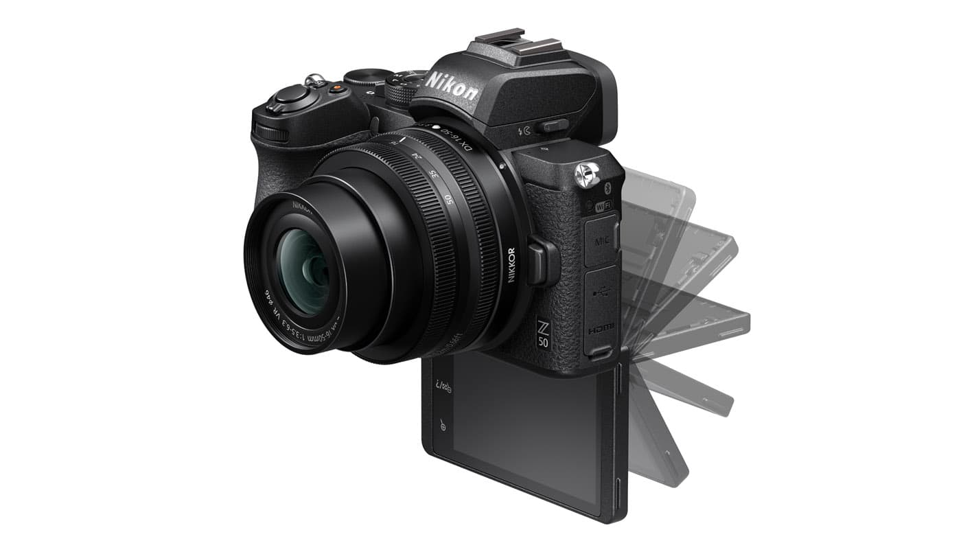 Z 50's 3.2-inch flip-down LCD touchscreen