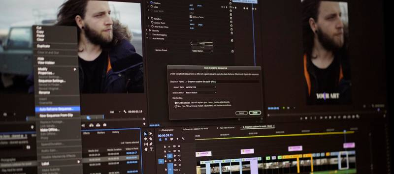 Adobe Premiere Pro with Auto Reframe window