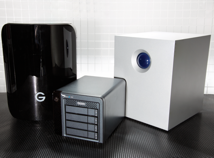 Photo with G-Technology G-SPEED Studio R,  Promise Pegasus2 M4 and LaCie 5big Thunderbolt 2 RAIDS