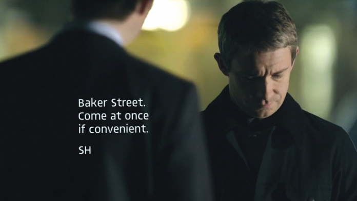 """Sherlock Holmes with subtitle """"Baker Street. Come at once if convenient. SH"""