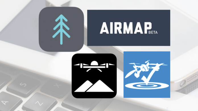 Airnest, RPAS Logger Lite, Airmap and Drone ZonesApp icons.