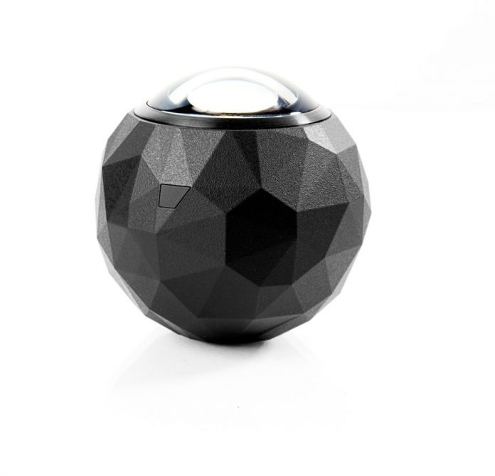 dark spherical camera with bubble lens on top