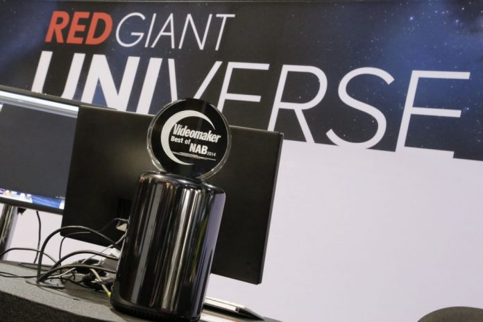 Computer gear in front of RED GIANT UNIVERSE