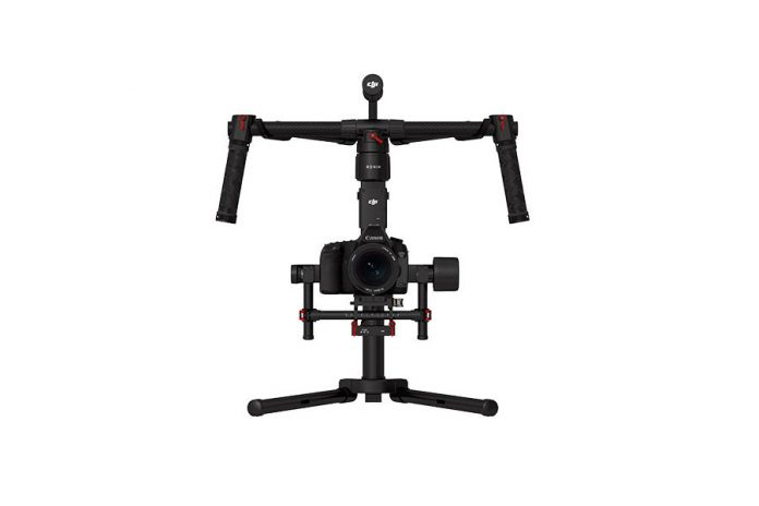 handheld camera stabilizer on a stand