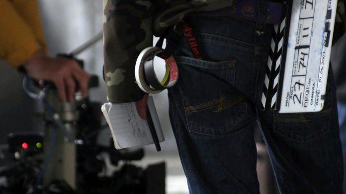 Close up of a clapper loader on a film set