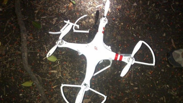 A grounded drone