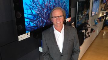 Sony Electronics President Mike Fasulo in Front of 4K TV
