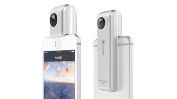 Insta360 Nano, front and back with iPhone