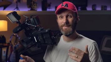 Tom Antos holding his custom camera rig