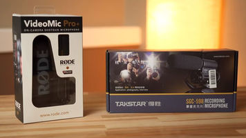 Røde's VideoMic Pro+ and Takstar SGC-598 packaged