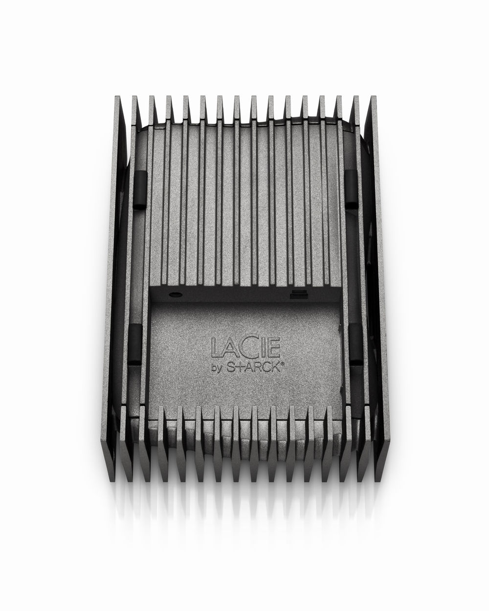 Metallic plates create a prism for a liquid-shaped hard drive - open spot has connectors