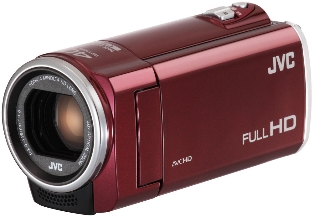 burgundy camera with lens exposed and LCD panel closed