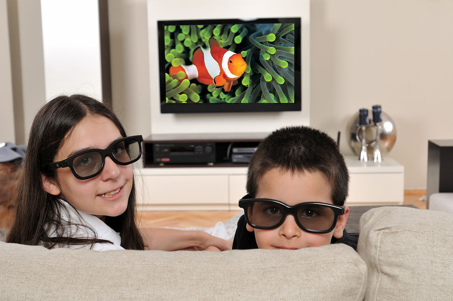 Kids with 3D glasses