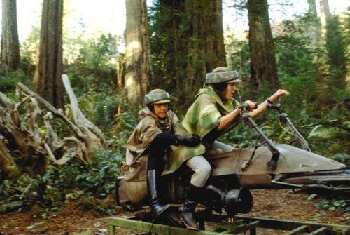 Luke and Leia from Star Wars on a Speeder Bike
