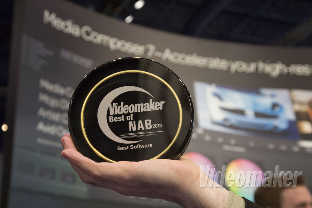 Videomaker award in front of a wall showing Media Composer 7