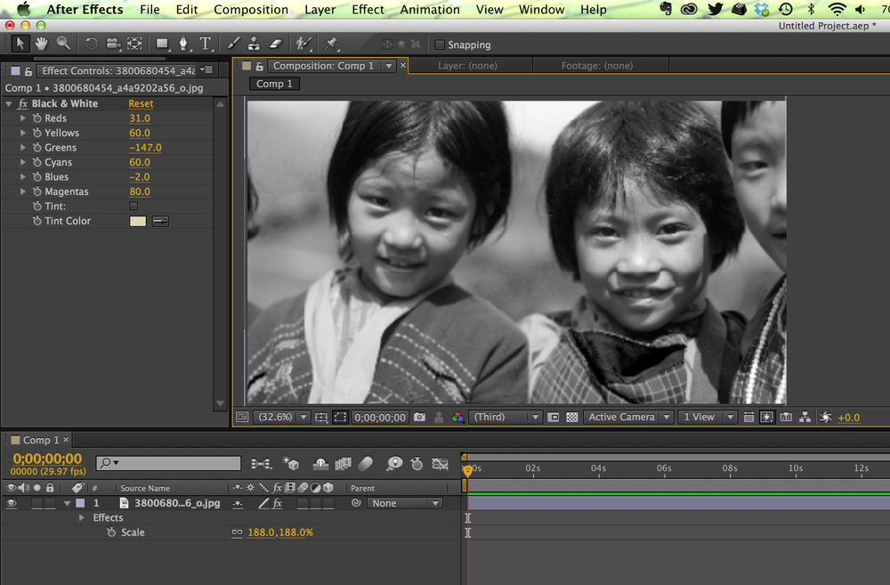 After Effects interface with black and white shot