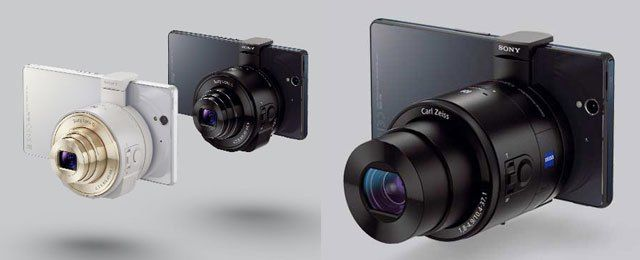 Sony QX10 and QX100 Lens Cameras attached to smartphones