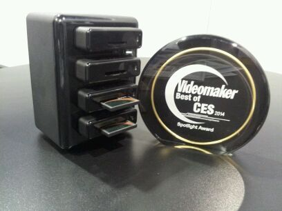 tower with card readers and Videomaker award plaque
