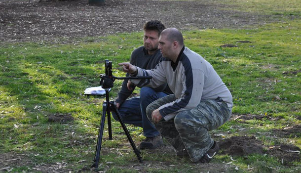 Conrad Mess (right) with producer Adi Spektor filming Russian Roulette on an iPhone in Hollywood.