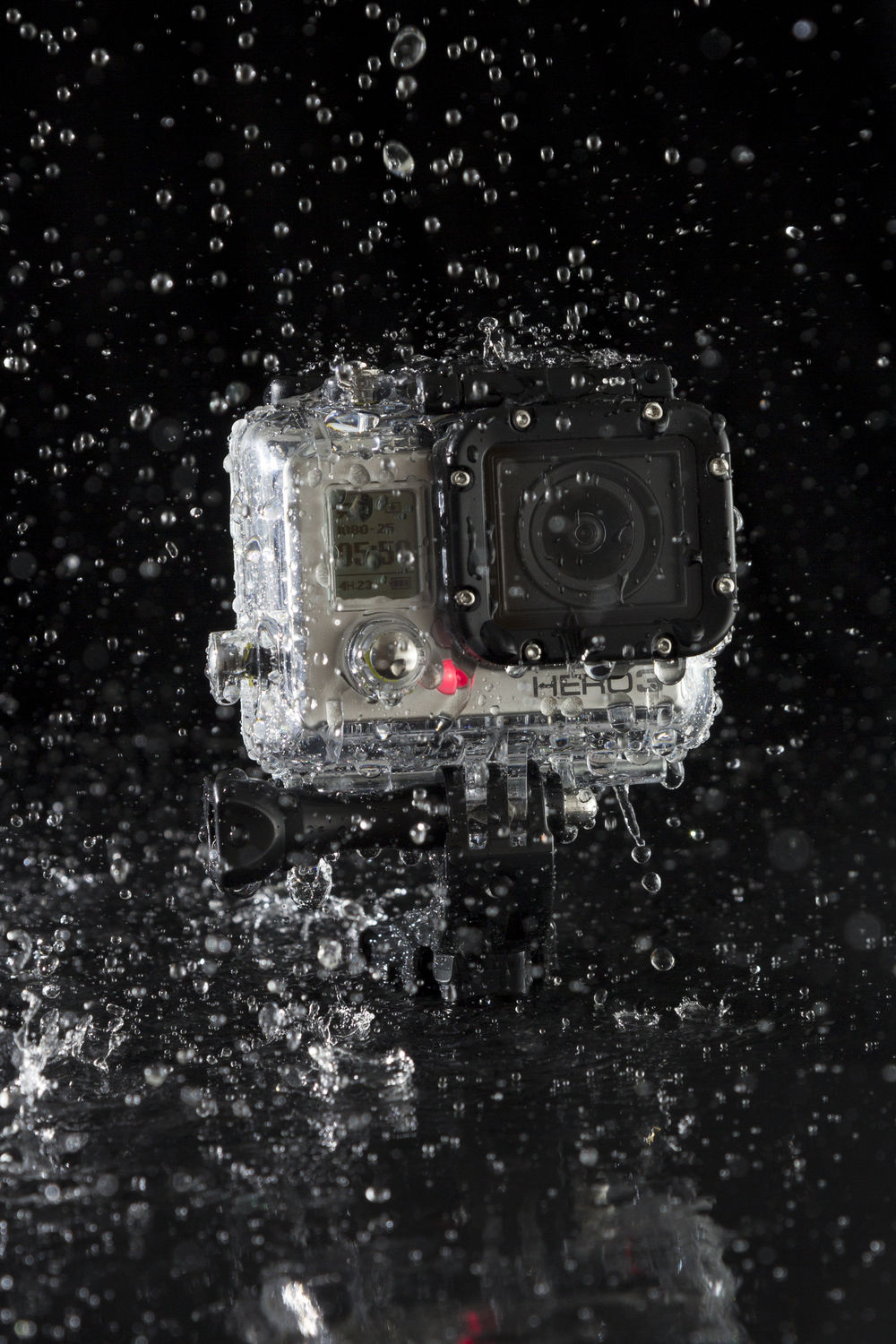 shot of a GoPro camera getting wet
