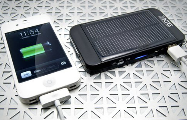 : One of the existing ways to keep your iPhone charged while on the go is to invest in a solar-powered backup battery accessory pack such as this one from XTG Technology. Photo credit: XTG Technology
