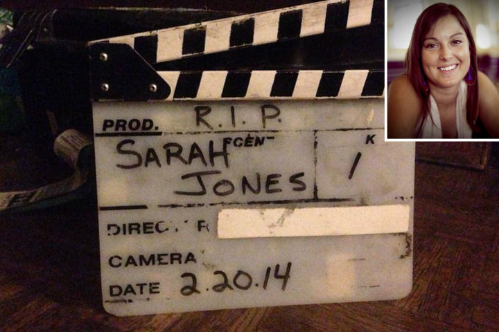 "photo of ""Slates for Sarah"" with inset image of Sarah Jones, the camera assistant killed by a train on the set of Midnight Rider"