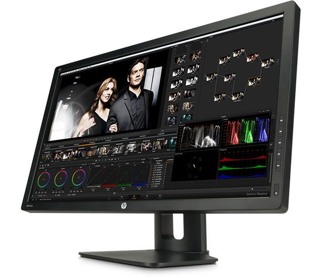 Large monitor with color grading software