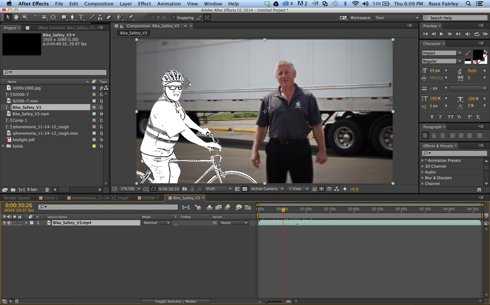 A shot with composited characters