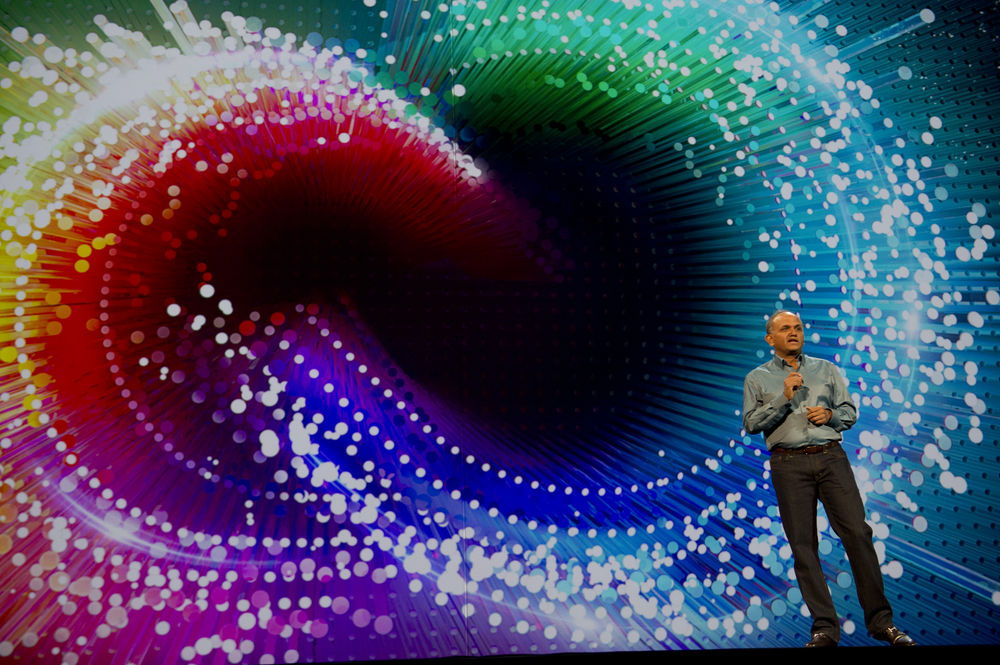 Adobe President and Chief Executive Officer Shantanu Narayen welcomes attendees to Adobe MAX on Monday, Oct. 6, 2014 in Los Angeles.