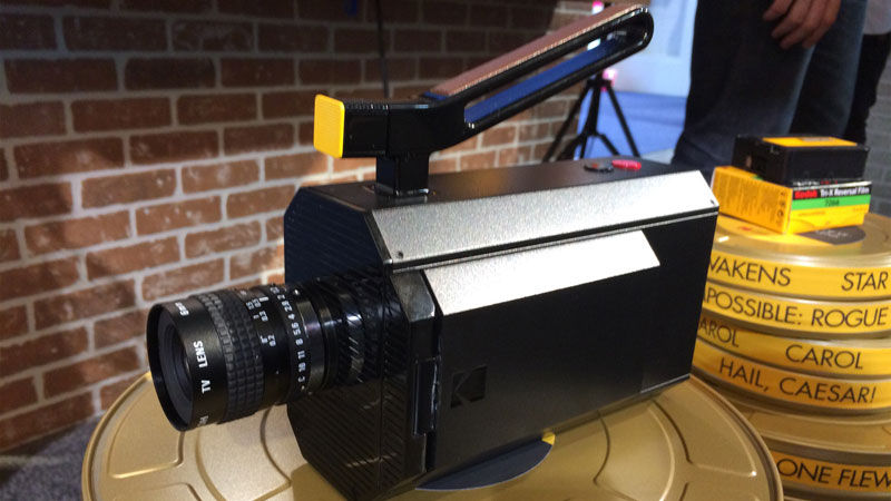 camera with a large canister and slanted handle