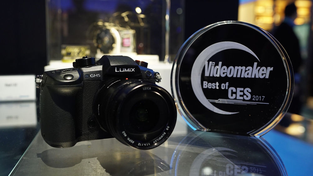 Panasonic GH5 with award trophy