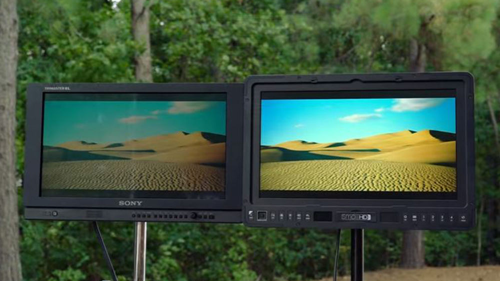SmallHD's 1703 P3X monitor next to Sony's PVM-A170 monitor