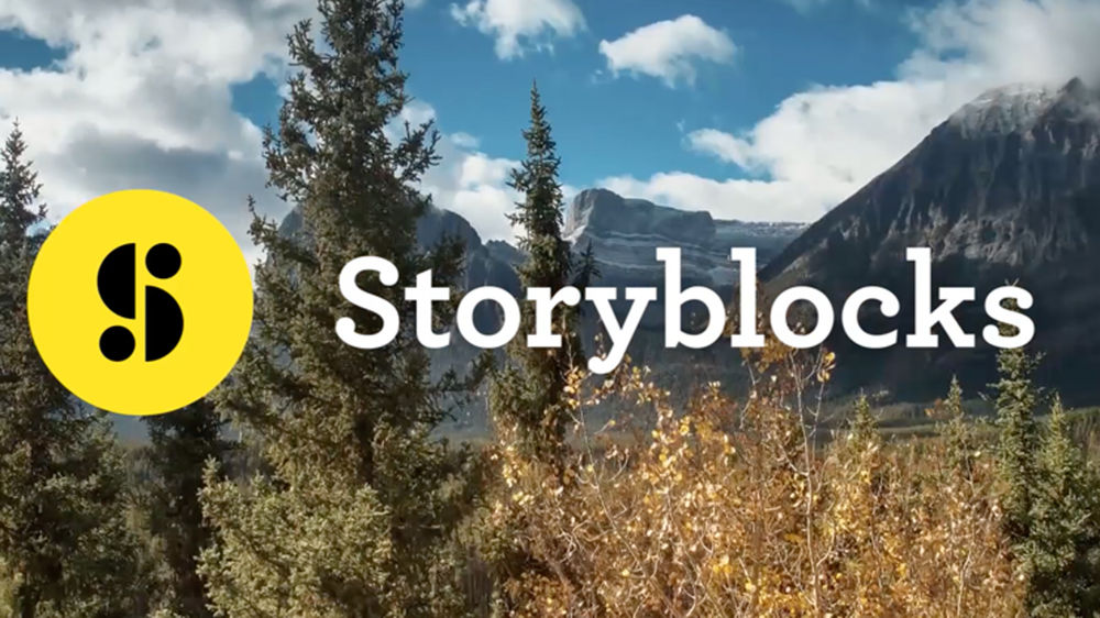 Storyblocks' logo over picture of wilderness
