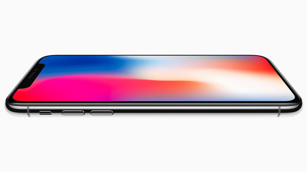 Image of the iPhone X laying on its back