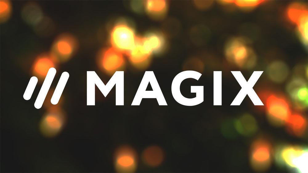 MAGIX Logo on over soft, blurred lights