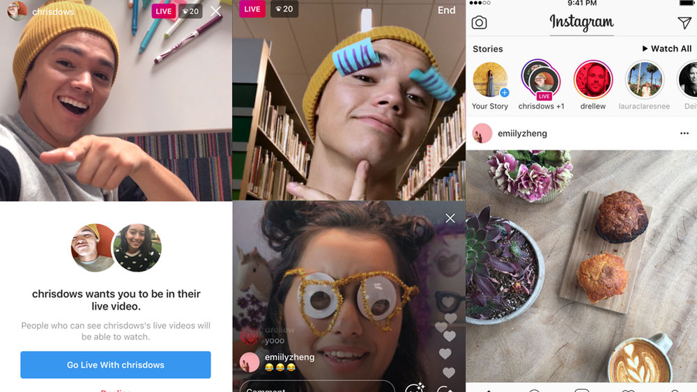 Image of two friends live streaming together on Instagram