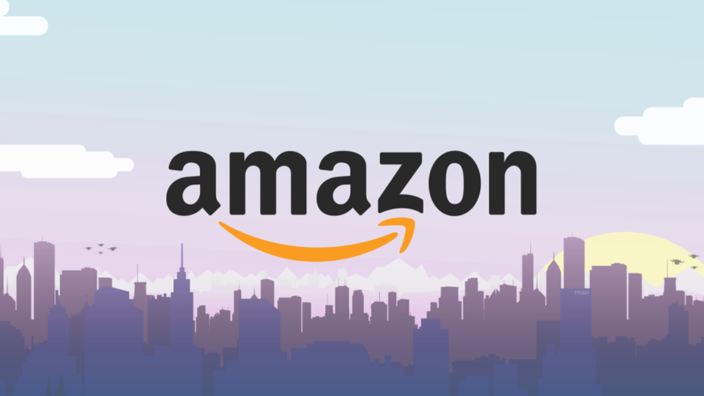 Amazon logo over illustration a city