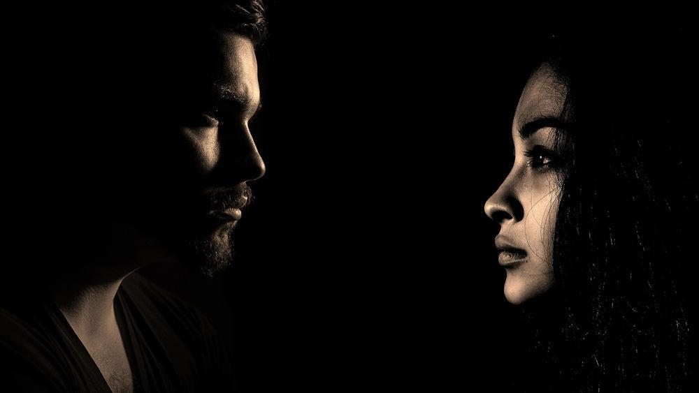 Woman and man shadowed