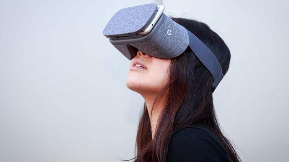 Woman wearing a Google Daydream VR headset