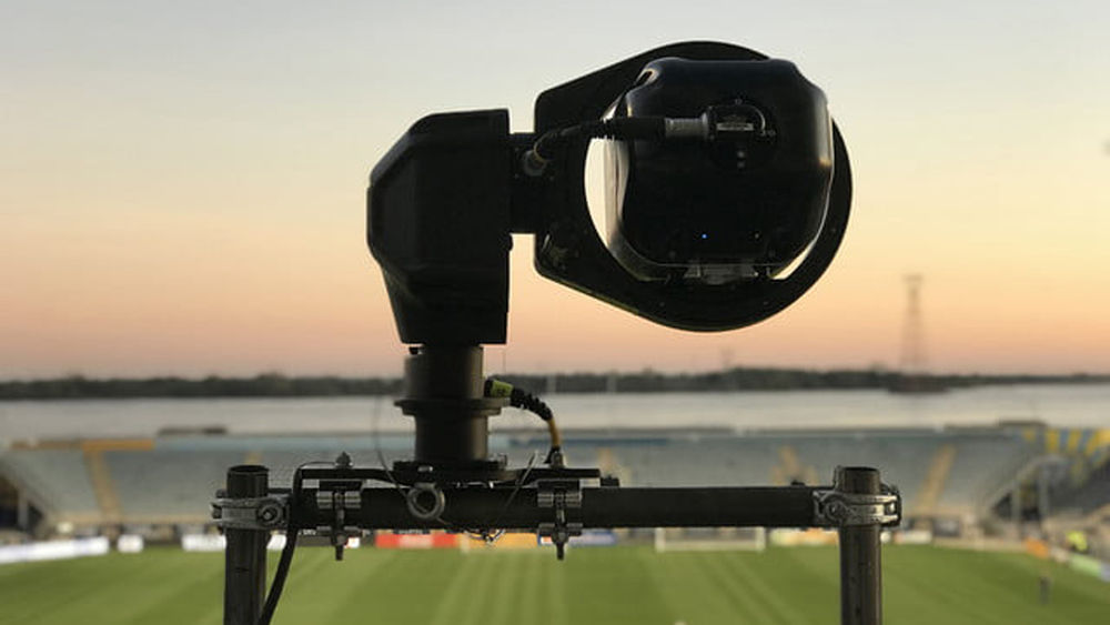Camera with MRMC systems recording a sports stadium