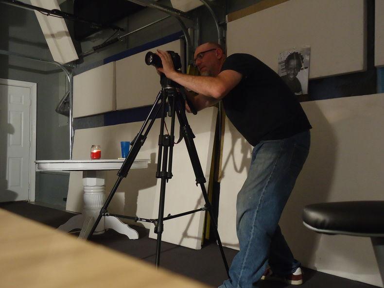 Chuck Peters on the set of Carl Wayne Meekins' Someday Soon music video shoot in Nashville, TN.
