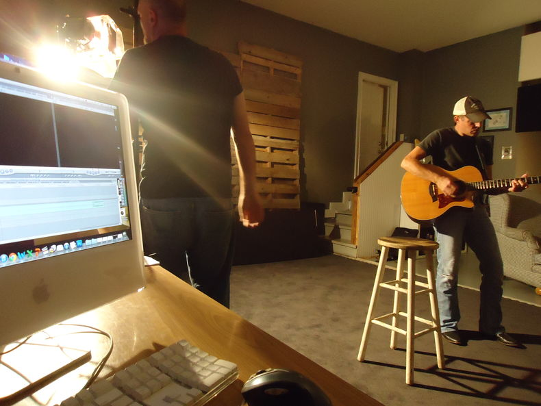 Setting the right light and recording for the Carl Wayne Meekins' Someday Soon music video shoot .