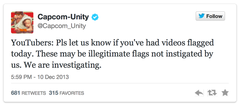 Twitter comment from Capcom-Unity, an online video gaming organization