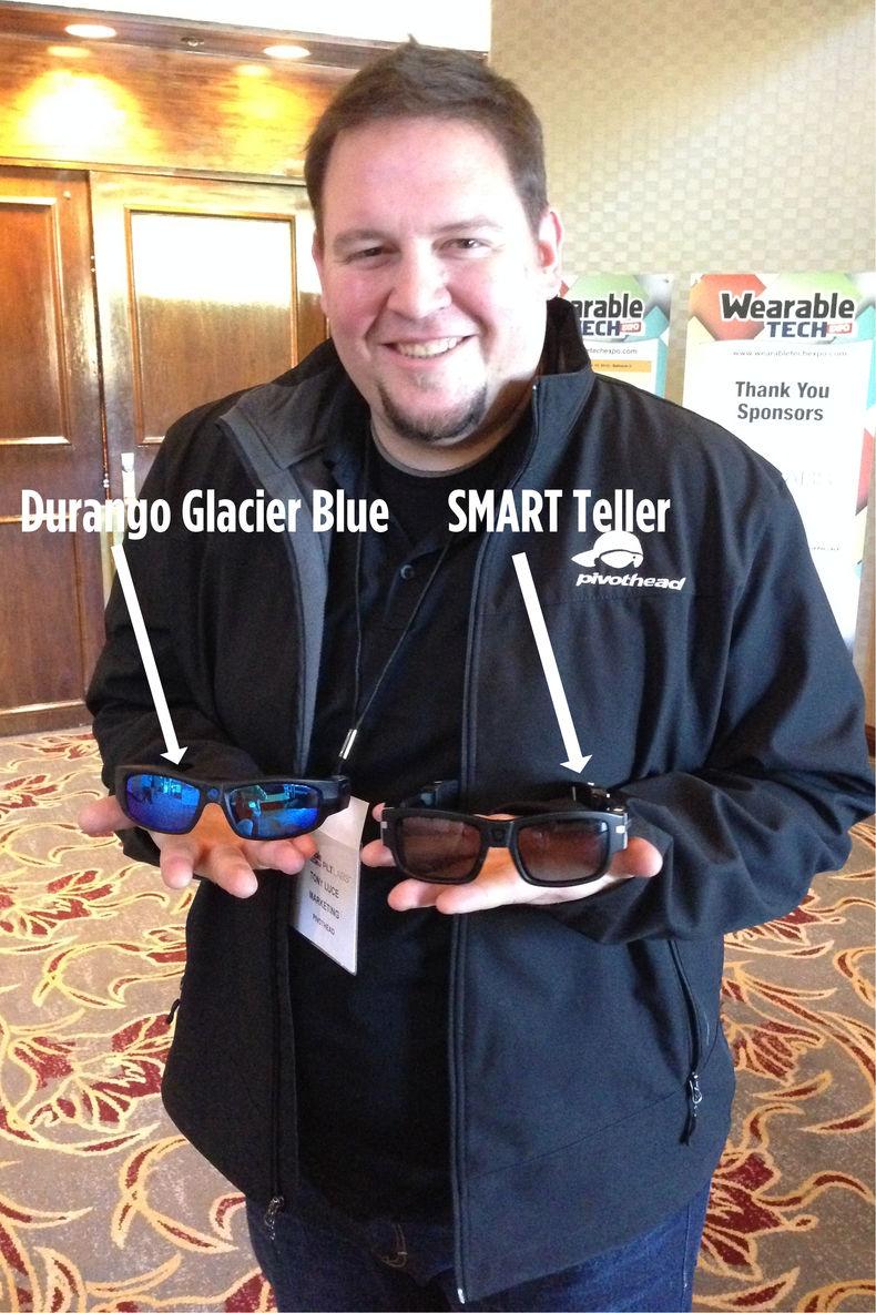 marketing director, Tony Luce showing off the Pivothead SMART camera sunglasses